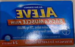 2 Boxes! ALEVE Back & Muscle Pain Relief Lasts 12hrs 24 Tabl