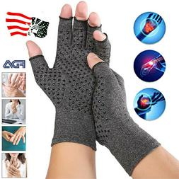 Pair Copper Compression Gloves Medical Arthritis Pain Relief